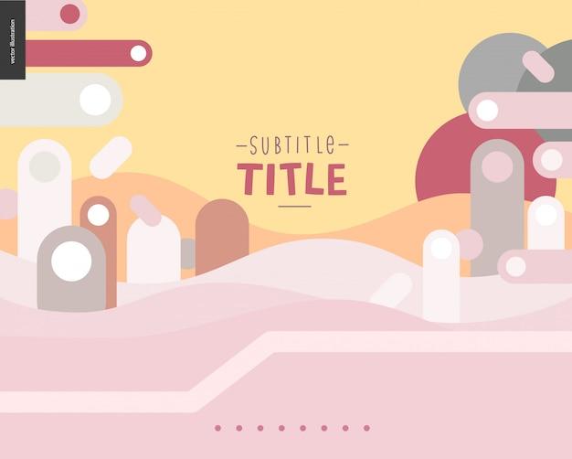 ピンクと黄色の風景テンプレートデザイン