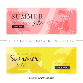 Pink and yellow summer sale banners