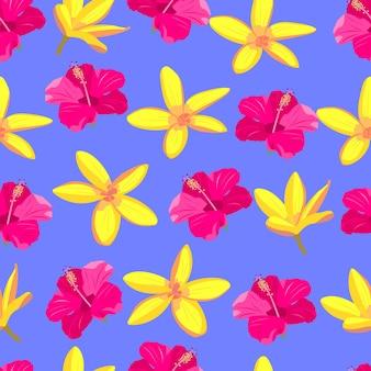 ピンクと黄色の熱帯の花のシームレスなパターンエキゾチックな楽園の花明るい株式ベクトル