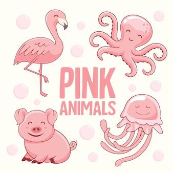 Розовые животные мультфильм фламинго осьминог свинья медуза