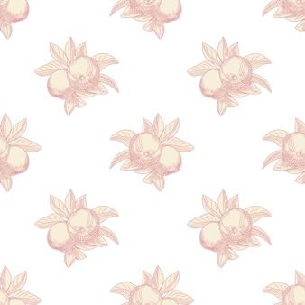 白い背景の上のピンクのリンゴのシームレスなパターン。ヴィンテージボタニカルハンドドロー。