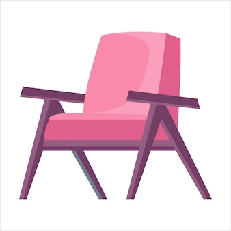 Pink armchair or chair on a white isolated background vector illustration in cartoon flat style