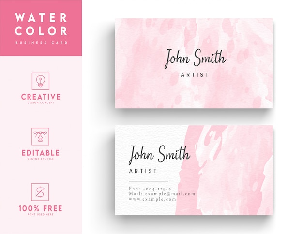 Pink artistic watercolor business card