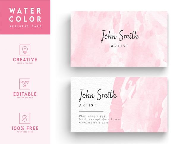 Розовая художественная акварель визитная карточка