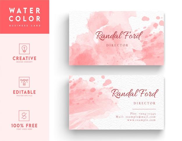 ピンクの芸術的な水彩画のコーポレートアイデンティティカードデザイン。