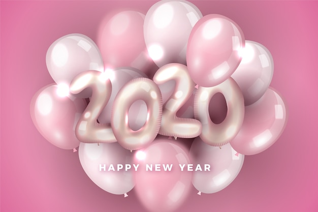 Pink assortment of balloons new year 2020