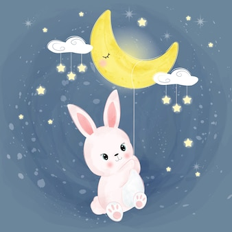 Pink baby bunny in the sky