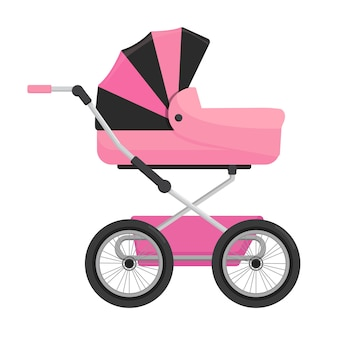 Pink baby carriage isolated on white background.