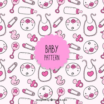Pink baby elements pattern