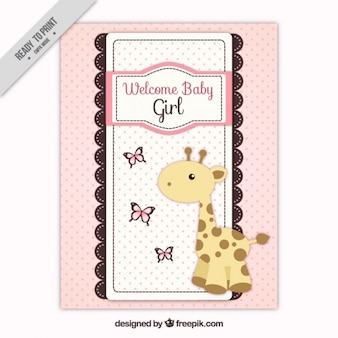 Rosa doccia carta di bambino con la giraffa