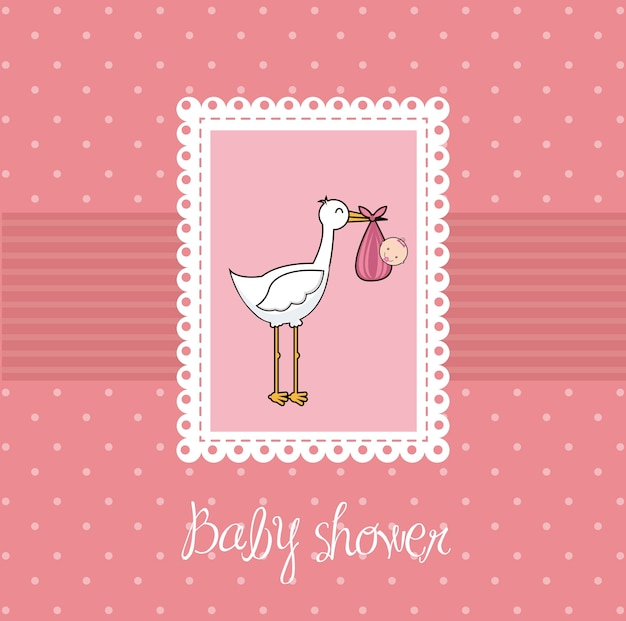 Pink baby shower card with stork and baby vector illustration