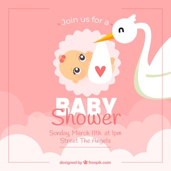 Pink baby shower card with stork