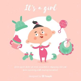女の子のためのピンクのベビーシャワーのテンプレート