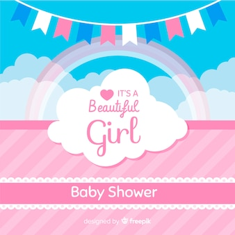 Pink baby shower template for girl