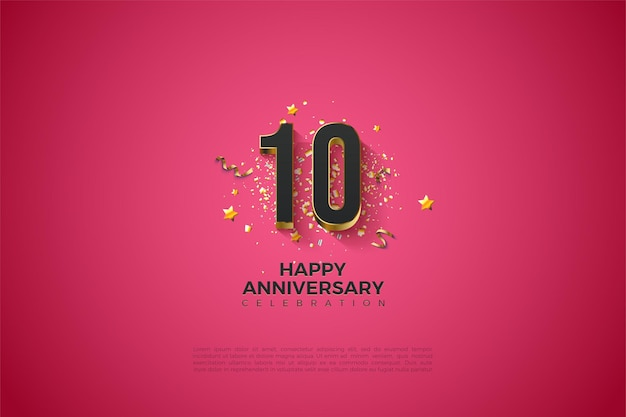 Pink background for 10th anniversary with black numbers in gold plated