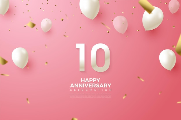 Pink background for 10th anniversary with numbers and balloons
