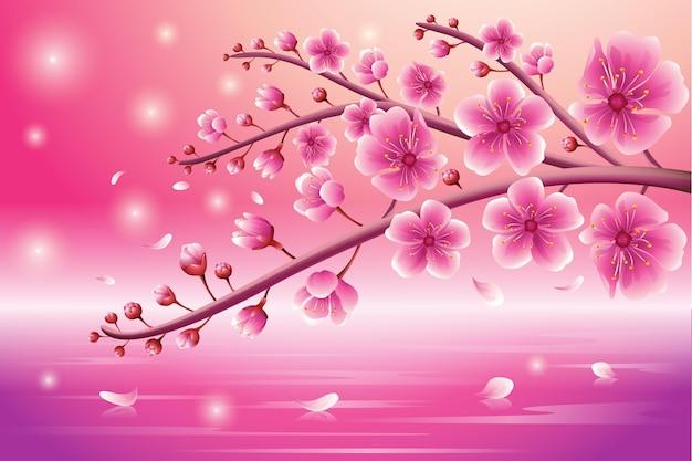 분홍색 배경과 밝은 사쿠라