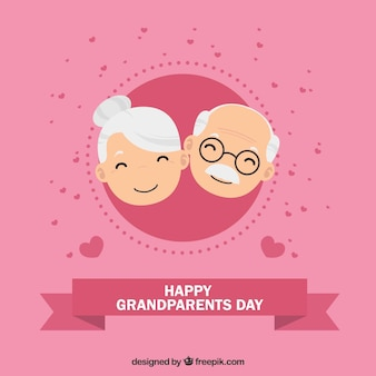 Pink background of happy grandparents with hearts