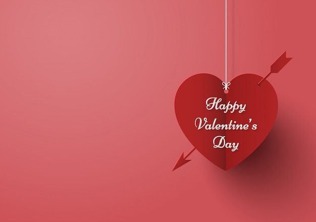 Pink background and heart with arrow
