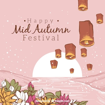 Pink background, mid autumn festival