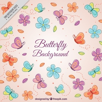 Pink background with butterflies and flowers