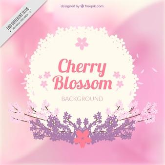 桜の装飾とピンクの背景