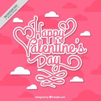 バレンタインデーのための雲とピンクの背景