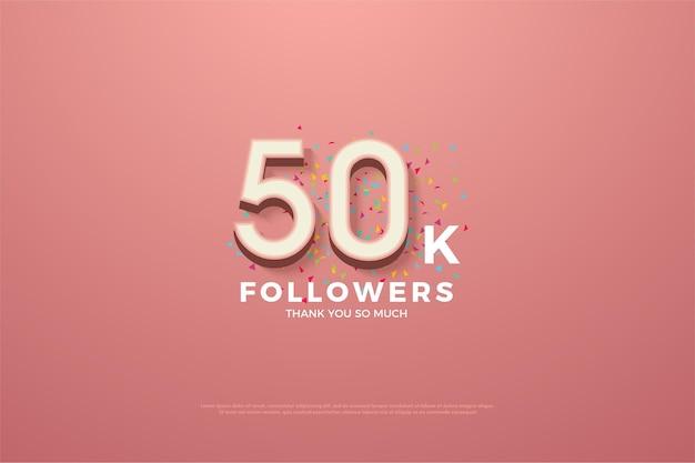 숫자가있는 5 만 명의 추종자를위한 컷 리본이 달린 분홍색 배경