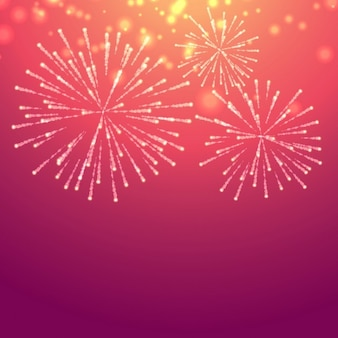 Pink background with fireworks