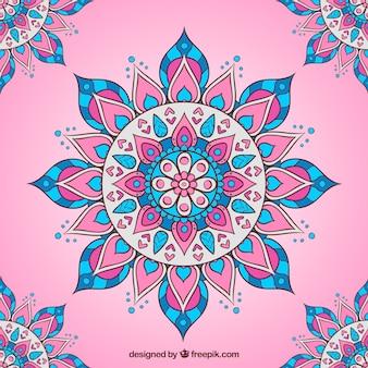 Pink background with flat mandala