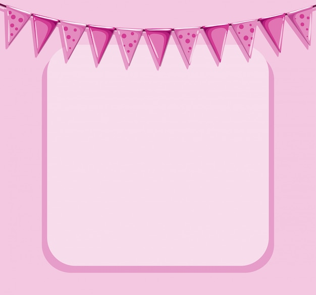 Pink background with frame and flags