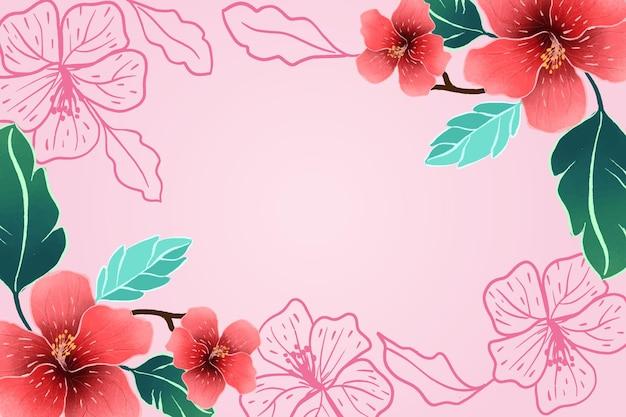 Розовый фон с рисованной тропическими цветами