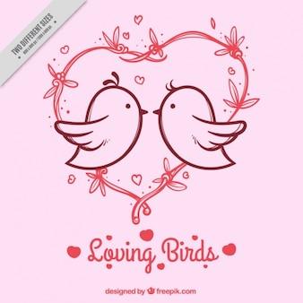 Розовый фон с сердцем и птиц в любви