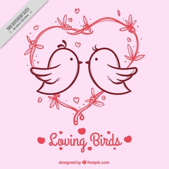 Pink background with heart and birds in love