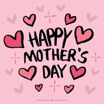 Pink background with hearts for mother's day