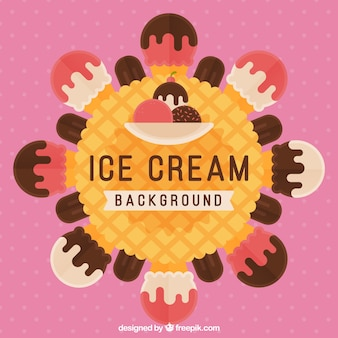 Pink background with ice cream in flat design