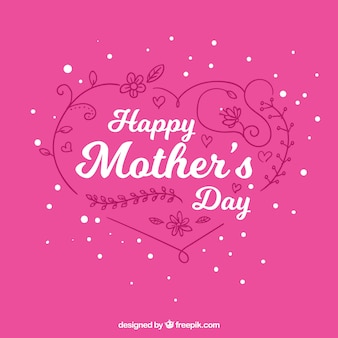Pink background with ornamental heart for mother's day