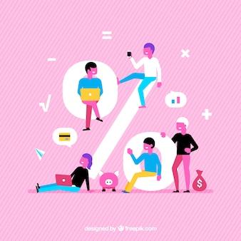 사람과 퍼센트 노래와 분홍색 배경
