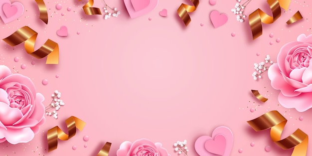 Pink background with roses and paper illustration