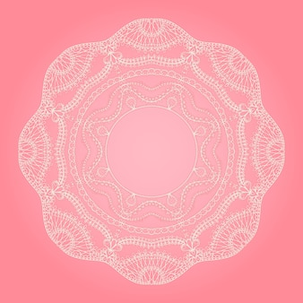 Pink background with white lace round