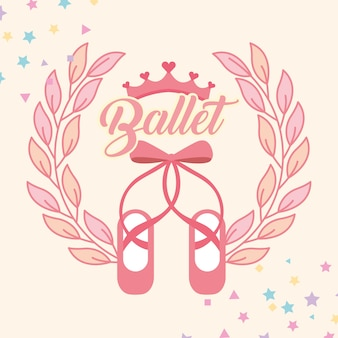 Pink ballet pointe shoes emblem