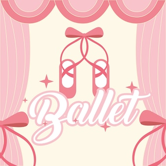 Pink ballet pointe shoes frame curtain ballet