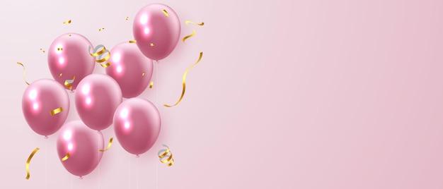 Розовые шары и золотой конфетти баннер