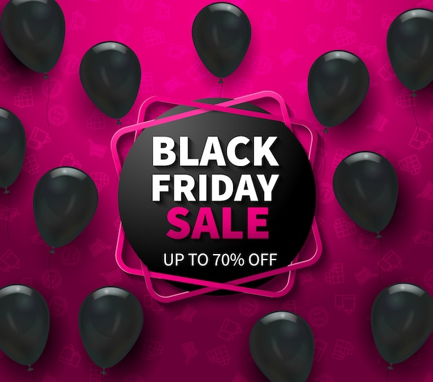 Pink banner with black friday sale advertisement and realistic balloons vector illustration