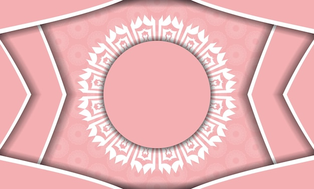 Pink banner with greek white ornaments and space for your logo or text