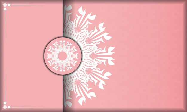 Pink banner with greek white pattern and place for your logo