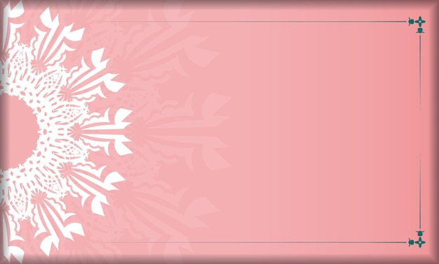 Pink banner with indian white pattern and place for your logo