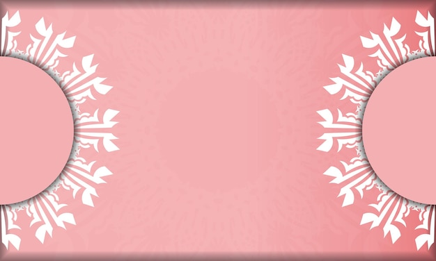 Pink banner with luxurious white pattern for design under your logo