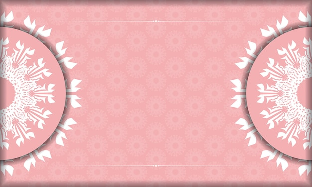 로고 아래 디자인을 위한 빈티지 흰색 장식이 있는 분홍색 배너
