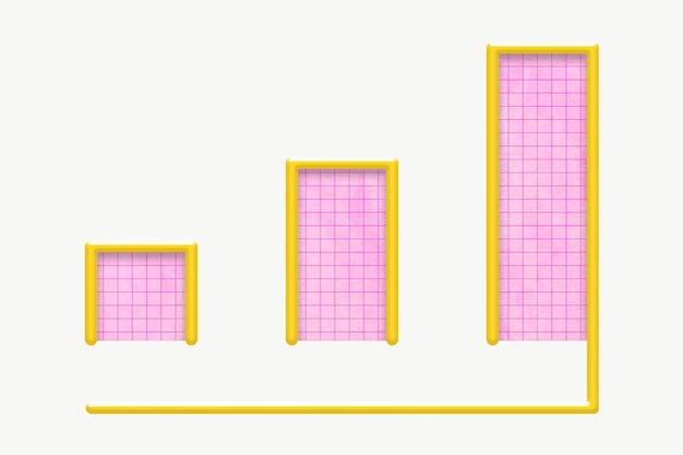 Grafico a barre rosa per la crescita del business per il marketing